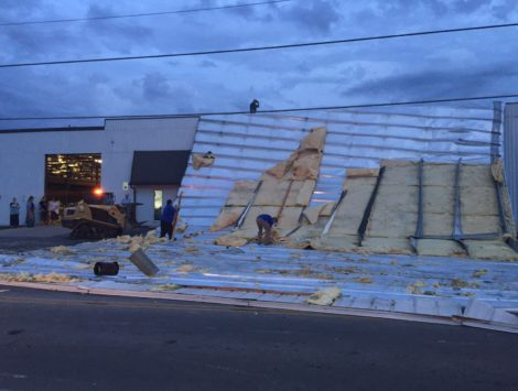 roof blew off commercial building