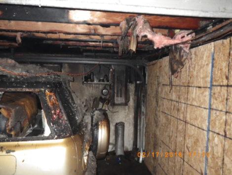 fire damage restoration garage before
