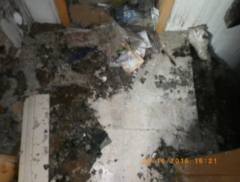 fire damage restoration stairs landing before