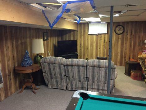water damage basement before