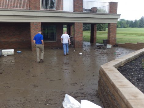 water damage restoration golf course outside before
