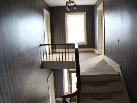 commercial remodel top of stairs before