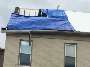 storm damage to commercial building