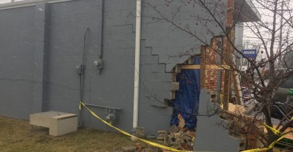 Commercial building vehicle impact before